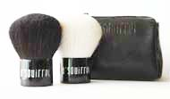 Squirrel Hair Kabuki Brush and White Goat Hair Kabuki Brush Set with Pouch
